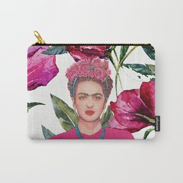Frida with Crown of Flowers Carry-All Pouch