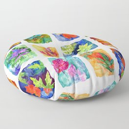 Colorful Summer Leaves Floor Pillow