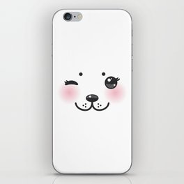 Kawaii funny albino animal white muzzle with pink cheeks and winking eyes iPhone Skin