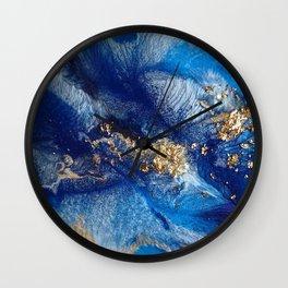 Aurory resinart - Blue/gold Wall Clock