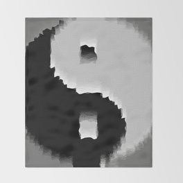 grunge yin yang Throw Blanket