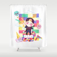 shinee Shower Curtains featuring Downtown Baby SHINee by sophillustration