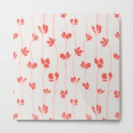 Red floral striped pattern Metal Print