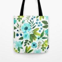 oana befort Tote Bags featuring FLORA BLUES by Oana Befort