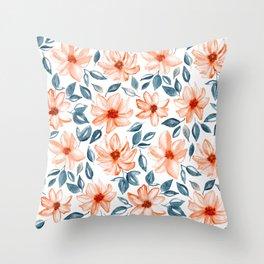 Orange & Navy Watercolor Floral Throw Pillow