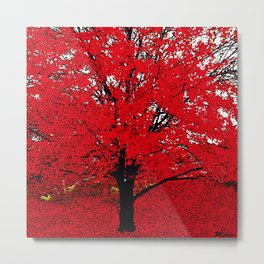 TREE RED Metal Print