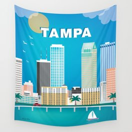 Tampa, Florida - Skyline Illustration by Loose Petals Wall Tapestry