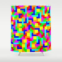 tetris Shower Curtains featuring Tetris by tonilara