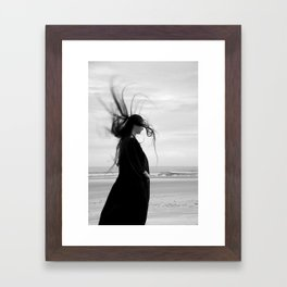 Photography strange creepy witch woman black-white digital wind evil gothic Framed Art Print