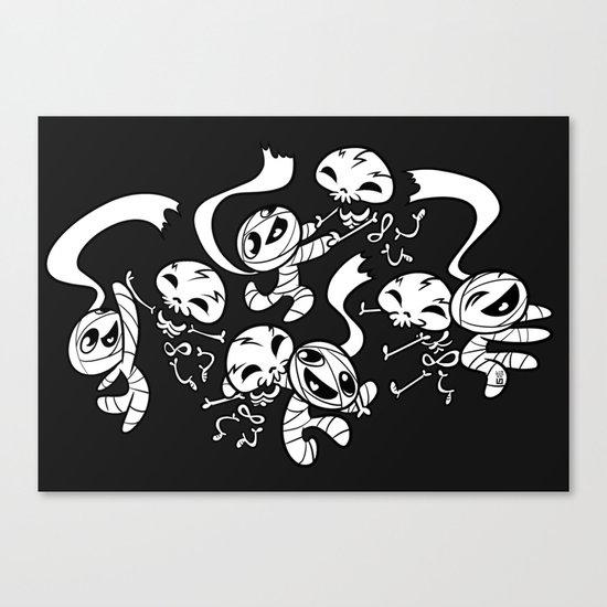Mummy & Skeleton Canvas Print