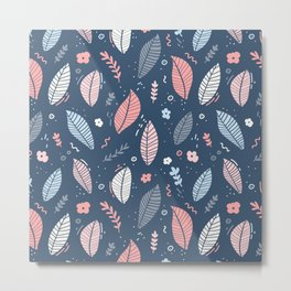 A Frolic Of Flowers And Leaves In A Perfectly Pretty Pastel Pattern Metal Print