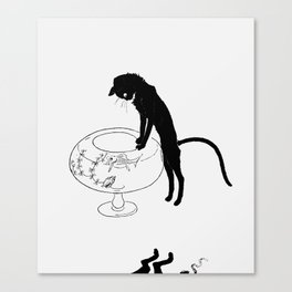 """Théophile Steinlen """"Cats: Pictures without Words (Cat and fishbowl)"""" (1) Canvas Print"""
