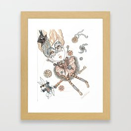 Steampunk Alice Falls Down Framed Art Print