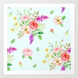 Watercolor Rose pattern Art Print