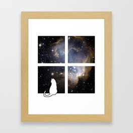 Cat[ch] Me At The Window Framed Art Print