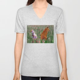 The hare and the fox Unisex V-Neck