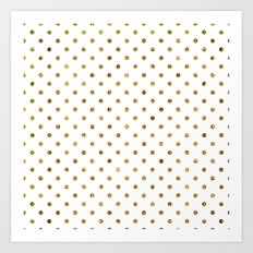 Chic Gold and White Dots Art Print