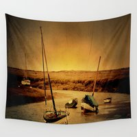 boats Wall Tapestries featuring Blakeney Boats by J Coe Photography