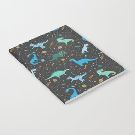 Dinosaurs in Space in Blue Notebook