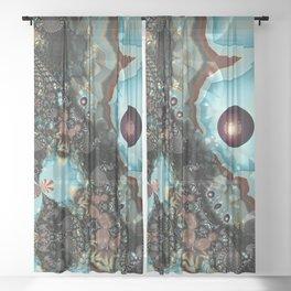 Shadow Blues Fractal Sheer Curtain