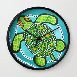 Funky Green Turtle Wall Clock