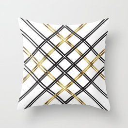 Crosshatch in Gold Throw Pillow