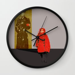 The girl in the red coat Wall Clock