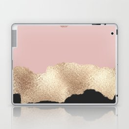 Rose Gold Glitter Black Pink Abstract Girly Art Laptop & iPad Skin