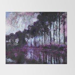 Monet : Poplars Purple Violet Indigo Throw Blanket