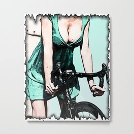 Bike and Girl Metal Print