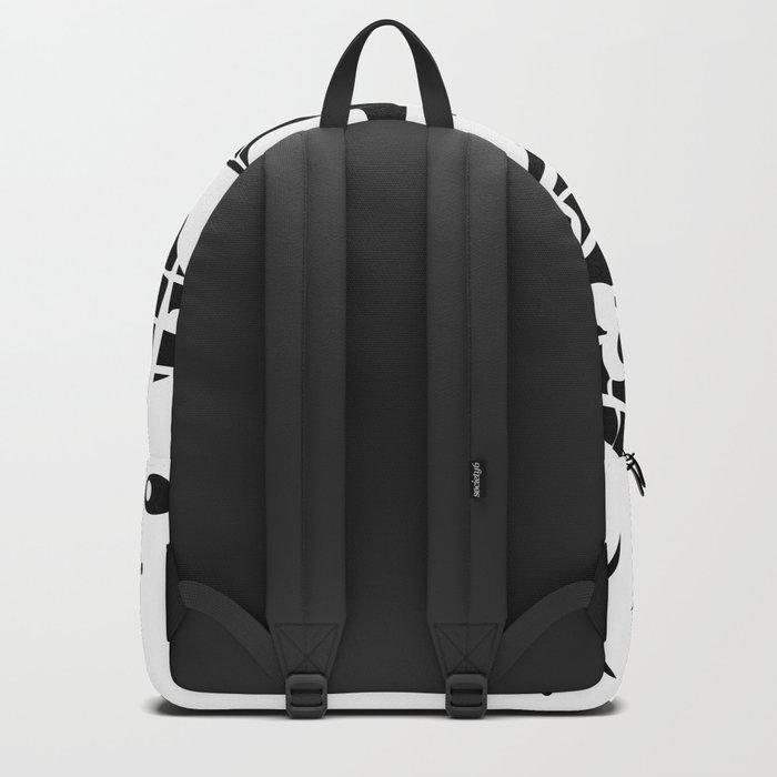 Black and white illustration . Fish . Backpack