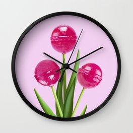 LOLLIPOP TULIPS PINK Wall Clock
