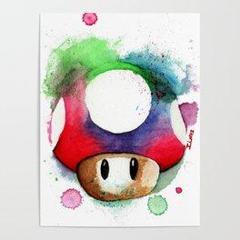1UP Mushroom MArio Game Watercolor art Print Poster