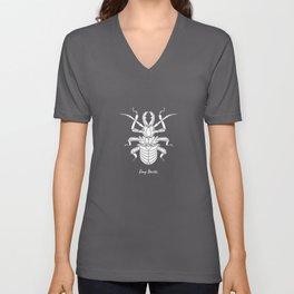 Stag Beetle White on Purple Background Unisex V-Neck