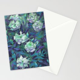 White roses, blue leaves Stationery Cards