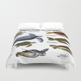 Sea Turtles of the World Duvet Cover