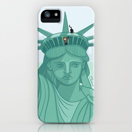Climb on the top of the liberty statue iPhone Case