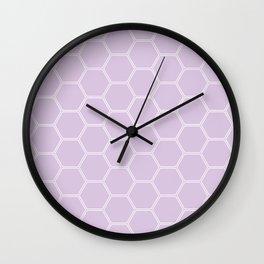 Geometric Honeycomb Pattern - Light Purple #288 Wall Clock