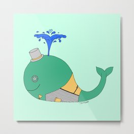 Steampunk Whale (Green) Metal Print
