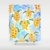 turtles Shower Curtains featuring Turtles by Julie Lehite