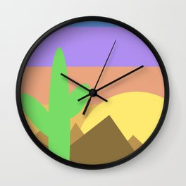 Arizona Desert Sunset Illustration Wall Clock