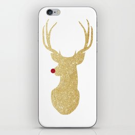 Rudolph The Red-Nosed Reindeer | Gold Glitter iPhone Skin