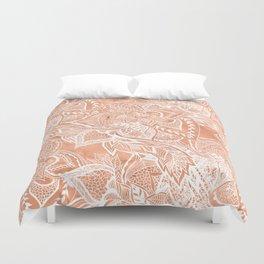 Modern tan copper terracotta watercolor floral white boho hand drawn pattern Duvet Cover
