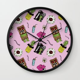 Haunted Psychobilly Luau Toss in Hibiscus Pink Wall Clock