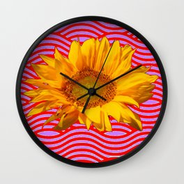 GOLDEN YELLOW SUNFLOWER RED-PURPLE ABSTRACT Wall Clock