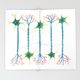 Neuron 5 in White Throw Blanket