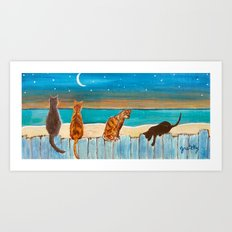 Cats on a Fence Art Print