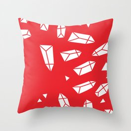 White Crystals on Red Throw Pillow