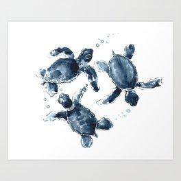 Turtle Swimming Sea Turtles indigo blue turtle art Kunstdrucke