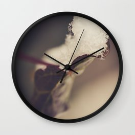 Snow Filled Leaf Wall Clock